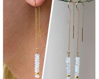 Long Minimal Earring, Moonstone Earrings, gold Threader Earrings, Linear earrings, June Birthstone, Sweeper Earrings, Duster Earrings