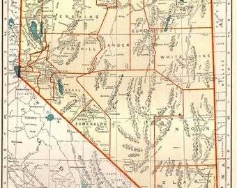 Map Of Nevada Etsy - Maps of nevada