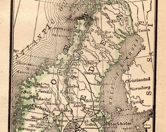 RARE Antique NORWAY and Sweden Map Vintage 1888  MINIATURE Map Gallery Wall Art Gift for Traveler Birthday Wedding 7467