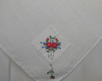 White Linen Wedding Hanky Vintage Embroidery w Applique Pink Blue Green Rose Floral Dainty Bullion Roses Something Old Something Blue
