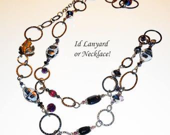 OOAK Black Chain ID Lanyard, Steampunk Link Chain Badge Holder, Id Lanyard, Badge Holder,  Id Lanyard, Boho Lanyards, LY11202