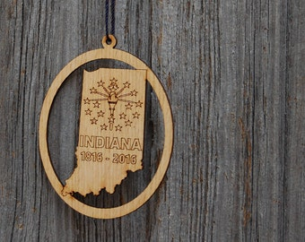 Indiana Ornament, Indiana Bicentennial, Indiana Decor, Indiana Gift, Indiana State Ornament, Gift for Traveler, Engraved Ornament,