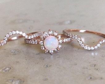 Rose Gold Opal Engagement Ring Set- Genuine Opal Engagement Ring- 14k Floral Engagement Ring- Opal Bridal Set Wedding Ring-Opal Diamond Ring