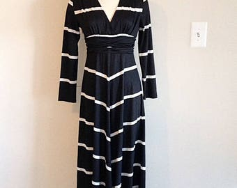 Fantastic 1970s Vintage Black and White Striped Maxi Dress Size Small