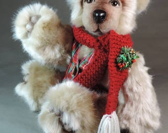 Artist Bear, Hamish McTavish, OOAK Tissavel faux fur and needle felted face, collectible, handmade teddy, fully jointed