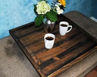Square Ottoman Tray | Large Ottoman Tray | Wood Ottoman Tray | Rustic Ottoman Tray | Coffee Table Tray | Oversized Ottoman Tray | Farmhouse