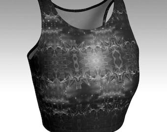 Dark Crystal - Womens Athletic Wear, Printed Athletic Crop Top, Crystals Printed Crop Top, Exercise Top, Yoga Top, Quick Dry, phresha