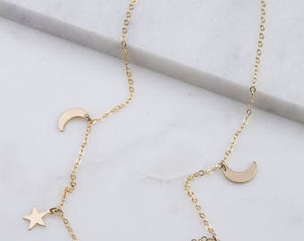 Tiny Crescent Moon & Star Necklace - Dainty, Simple, Birthday Gift, Wedding Bridesmaid Gift
