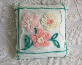 """NEW...Pillow Cover Vintage Chenille Peach and Yellow Plush Flowers on Mint Green...13 x 13"""""""