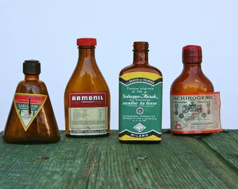 Vintage Italian pharmacy bottles with original labels
