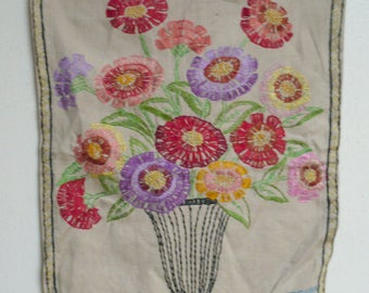 Vintage-Colorful Hand Embroidered Zinnias in Vase 15 x 19