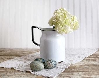 Vintage Enamel Pitcher, White Enamel Pitcher, Enamel Flower Vase, Vintage Farmhouse Decor, Country Decor, Fixer Upper