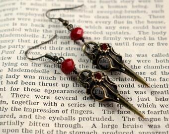 Raven Skull Earrings, Bird Skull Earrings, Gothic Earrings, Raven Skull Jewelry, Gothic Jewelry, Steampunk Earrings, Skull Jewellery