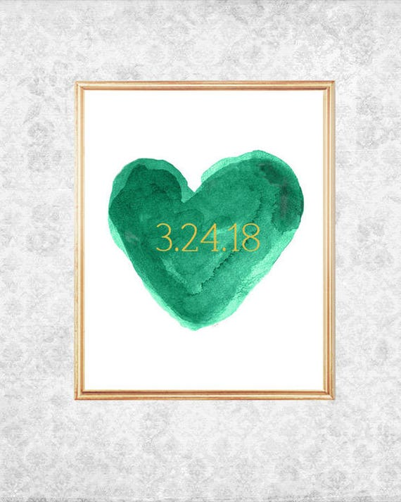 Emerald Green Wedding Gift, 8x10 Print with Wedding Date