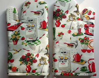 Kitchen Oven Mitt, Vintage Print, Hot Pad, Cookware, Kitchenware, Bake, Pot Holders