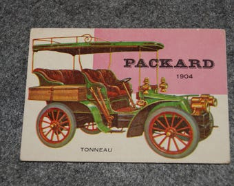 Vintage TOPPS 1953 To 1955 WORLD On WHEELS Card Number 124 Packard Tonneau 1904 Red Back  Variety