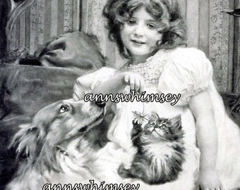 "Little Girl, Collie Dog, and Kitten Restored Antique Print ""Surrounded by Love"" Great Print for Little Girl's Room or ANY Room #300"