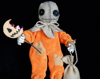 OOAK-Art Doll-Horror-Weird-Creepy-Sam-Trick or treat-Halloween--Pumpkin-Primitive-Cloth/Textile-Collectable - Handmade by Cheryl Austin