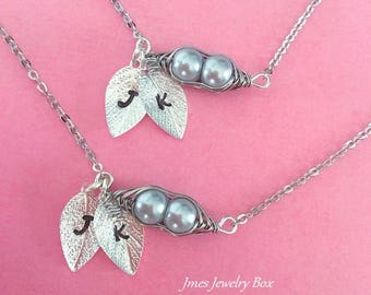 Two peas in a pod necklace set for best friends with initials