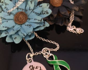 She Believed She Could pendant / Green Ribbon Charm Necklace - Bipolar Disorder, Adrenal Cancer, Cerebral Palsy Awareness, Organ Donor Gift