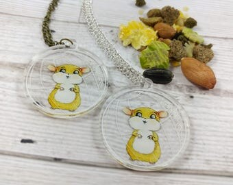 Hamster ball Pendant Silver or Antique Gold Chain