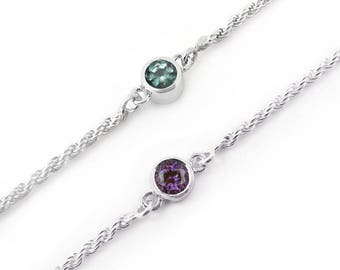 Alexandrite bracelet, June birthstone bracelet, sterling silver bezel bracelet
