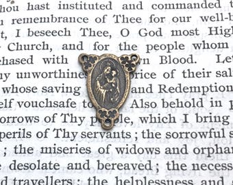 Scapular - Sacred Heart - Our Lady of Mount Carmel - Rosary CENTER - Bronze or Sterling Silver - Rosary Center - Reproduction (R-249)
