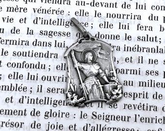 St Joan of Arc Medal - Vintage French Medal - Silver - Ste Jeanne d'Arc - Real French Medal  - Joan de Arc - Medal