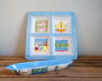Kate Williams Beach/Ocean Themed Divided Hors d'oeuvre Tray and Olive Boat