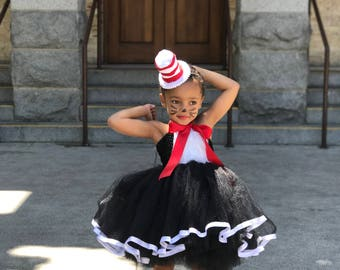 READY TO SHIP! Dr. Suess inspired Embroidered Cat in the Hat Tutu dress costume. Great for Halloween and parties