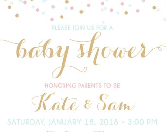 ON SALE! Couples Baby Shower Invitation, Confetti Baby Shower Invitation, shower invite, baby shower, blue pink gold