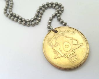 Foreign Coin Coin Necklace  - Stainless Steel Ball Chain or Key-chain