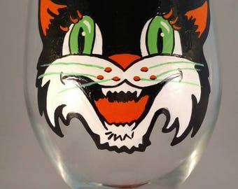 Vintage inspired Black Cat Halloween Hand Painted Wine Glass