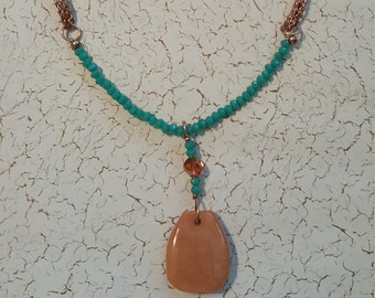 Agate drop pendant on hand woven Viking weave chain