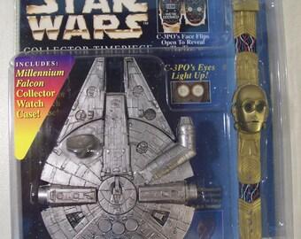 Vintage Star Wars Collector Timepiece C-3PO Watch with Millennium Falcon Watch Case, 1996, New