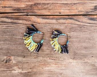 Floss shag hoop earrings, teal and black