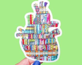 Vinyl Eye Heart Books Sticker - Waterproof Sticker, Book Decal, Book Lover, Book Nerd, Books Sticker, Literary Art, Bumper Sticker