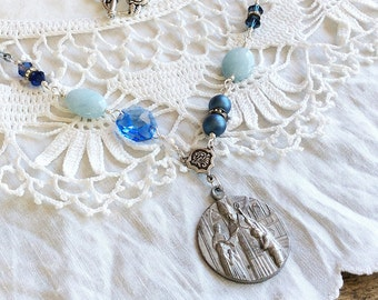 Vintage Assemblage Necklace - saint necklace blue necklace repurposed upcycled