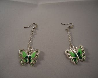 Earrings dangle Green Butterfly