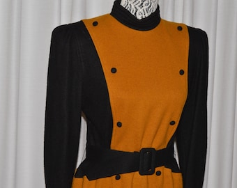 Vintage Dress by JANLLY Black Mustard Color Long Sleeves 1980s