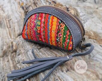Gray Leather Tribal Wallet, Hippie Wallet, Gypsy Wallet, Boho Wallet, Gray Womens Wallet, Gray Leather Purse, Leather Coin Purse, Coin Purse