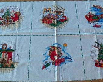 Vtg vip Cranston Fabric Panel Blocks~NIGHT BEFORE CHRISTMAS~A Visit From St Nich
