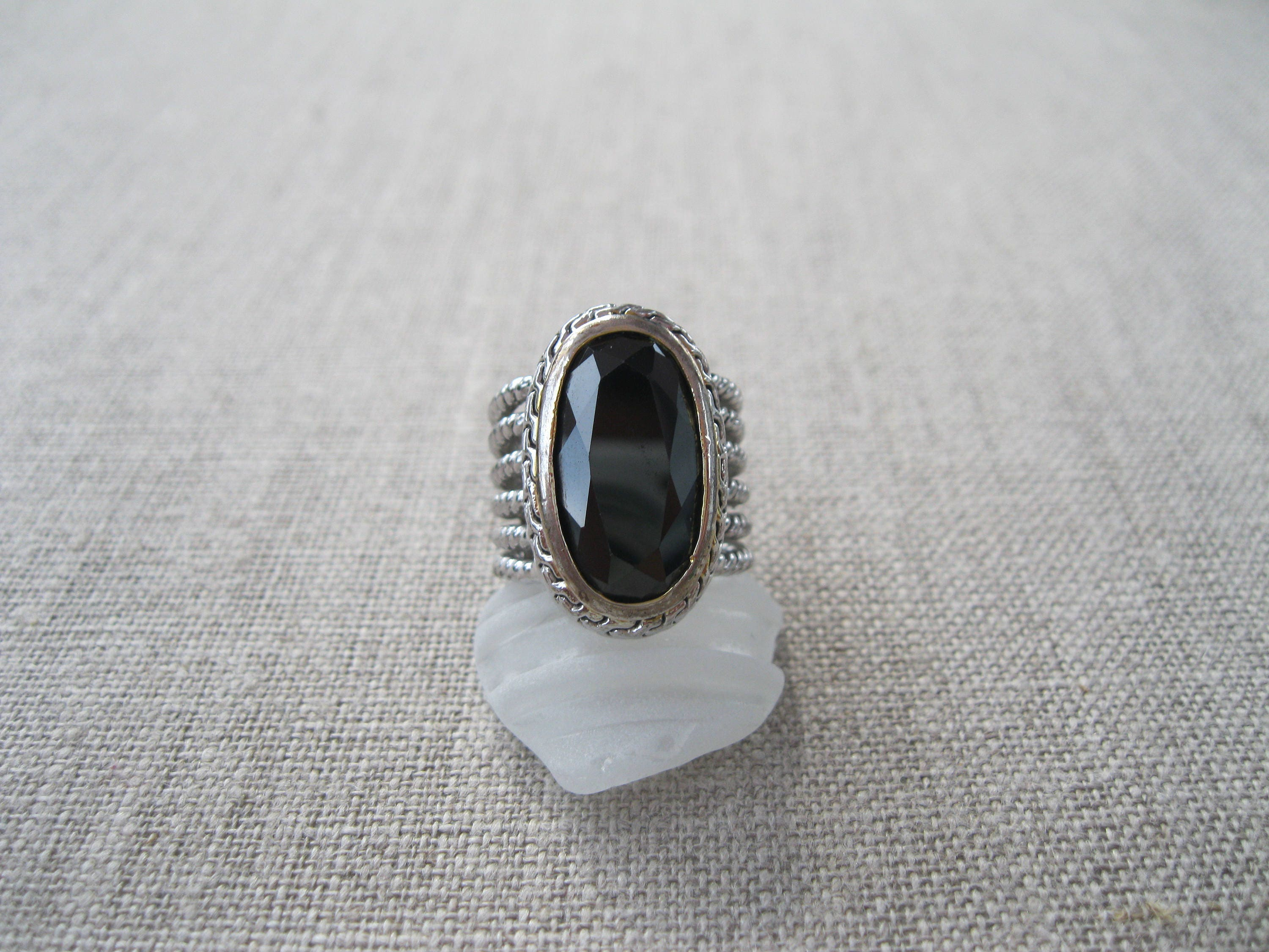 sale 18k hge white gold plated black onyx ring size 6 1 2