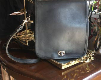 Vintage Black Leather Coach Crossbody Handbag