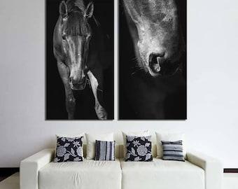 Horse art/set of 2 prints Large canvas art/black and white photography/Horse photography/nursery decor art/horse tack/bedroom wall decor/