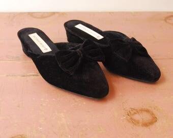 Black Velvet Slippers/ Slip-On Mules - Early/ Mid 90s