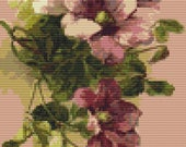 Floral Cross Stitch Kit, Clematis by Catherine Klein, Embroidery Kit, Art Cross Stitch, Floral Cross Stitch