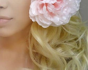 Pale Pink Hair Flower, Hair Flower, Pink Hair Accessory, Hair Clip, Pink Hair Flower