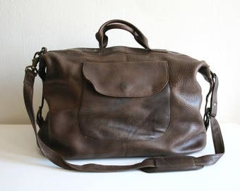 Pocket Brown Leather Duffle Bag