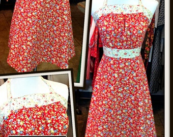 Vintage Red Gold Blue Green Floral Print Cotton Dress Halter FREE SHIPPING